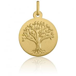 Médaille Arbre de Vie Relief Or Jaune 18K