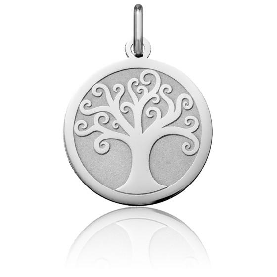 Médaille Arbre de Vie Ajouré Arabesque Or Blanc 18K