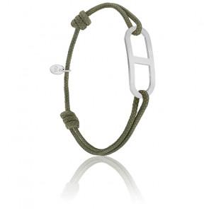 Bracelet gaby GM kaki & argent brossé