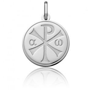 Médaille Chrisme Polie Or Blanc 18K