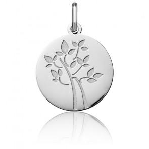 Médaille Arbre de Vie Feuilles Or Blanc 18K