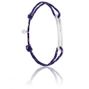 Bracelet gaby slim XL navy & argent brossé