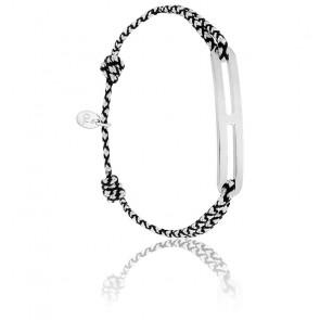 Bracelet gaby slim XL chrome & argent brossé