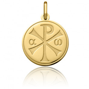 Médaille Chrisme Polie Or Jaune 18K