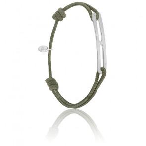 Bracelet gaby slim XL kaki & argent brossé