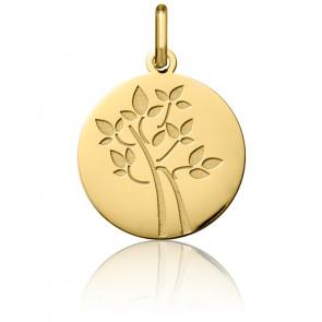 Médaille Arbre de Vie Feuilles Or Jaune 18K