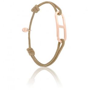 Bracelet gaby GM taupe & vermeil rose