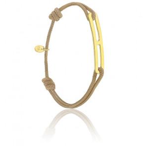 Bracelet gaby slim XL taupe & vermeil jaune
