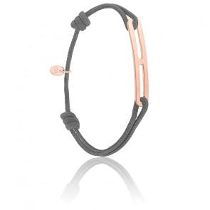 Bracelet gaby slim XL anthracite & vermeil rose