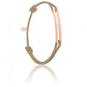 Bracelet gaby slim XL taupe & vermeil rose