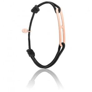 Bracelet gaby slim XL noir & vermeil rose