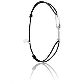 Bracelet osmose cordon noir & argent