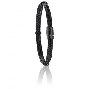Bracelet 608 Câble Noir & Acier Noir