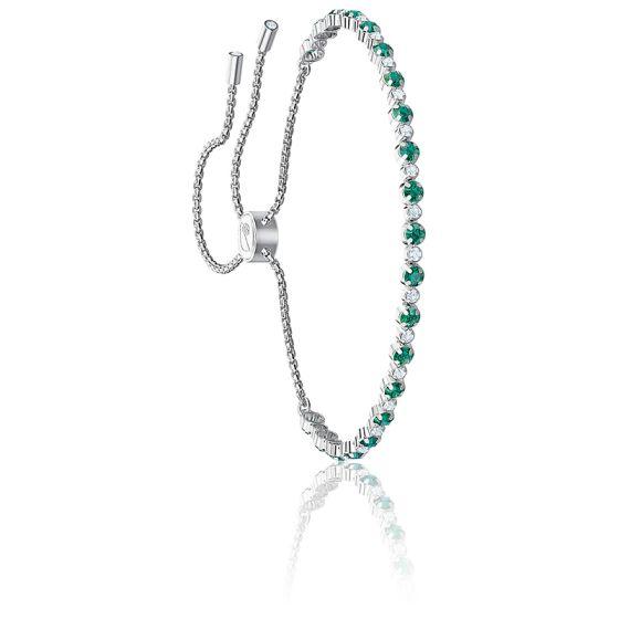 Bracelet Subtle Vert & Métal Rhodié