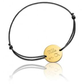 """Bracelet à Message """"Fille en Or"""" Or Jaune 18K"""