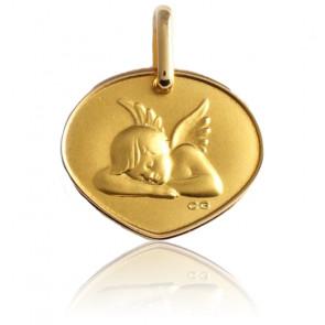 Médaille Ange Assoupi En Relief & Or Jaune