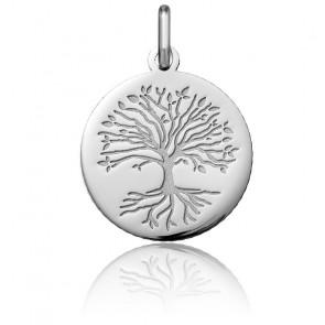 Médaille Arbre de Vie Racines Or Blanc 18K