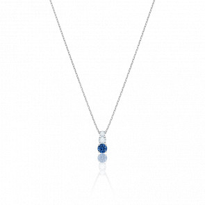 Collier Attract Trilogy Round Bleu & Métal Rhodié