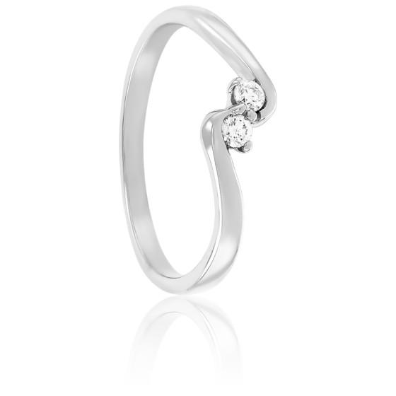 Bague Duo de Diamants 0,08ct GSI1 & Or Blanc
