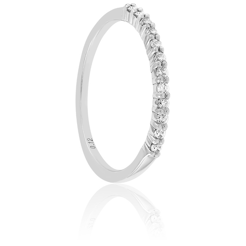 Alliance Rieuse Or Blanc 18K & Diamants 0,12 ct GP1