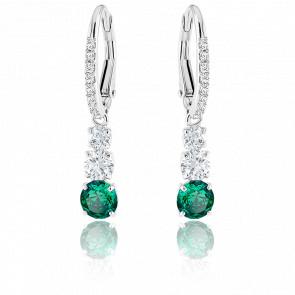 Boucles d'oreilles Attract Trilogy Round vert, métal rhodié
