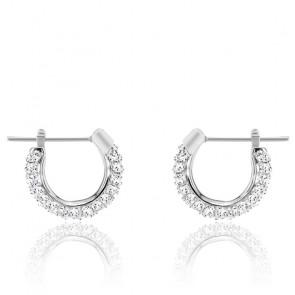 Boucles d'oreilles Stone blanc, métal rhodié