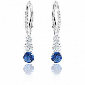 Boucles d'oreilles Attract Trilogy Round bleu, métal rhodié