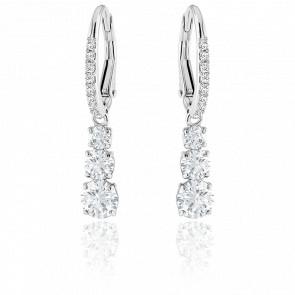 Boucles d'oreilles Attract Trilogy Round blanc, métal & cristaux