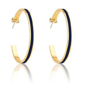 Boucles d'oreilles créoles Bangle bleu nuit & plaqué or jaune