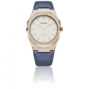 Montre Ultra Thin Blue Leather Strap and Eggshell Dial UTLL05