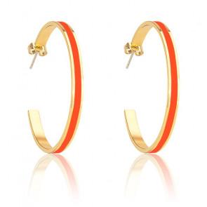 Boucles d'oreilles créoles Bangle tangerine & plaqué or jaune