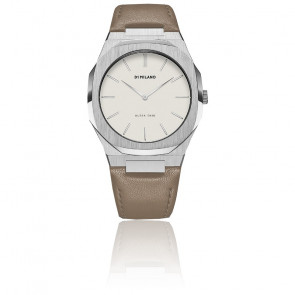 Montre Ultra Thin Off White Leather Strap and Eggshell Dial UTLL04