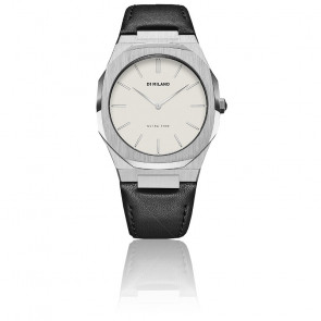 Montre Ultra Thin Silver Case Leather Strap UTLL01
