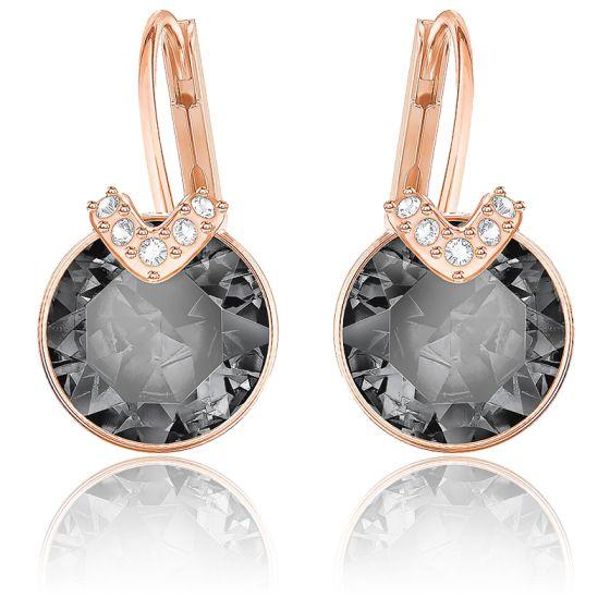 Boucles d'oreilles Bella V gris, métal rose - Swarovski - Ocarat