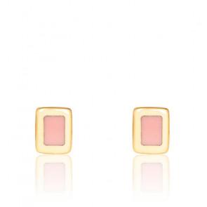 Puces d'oreilles Bangle rose poudre & plaqué or jaune