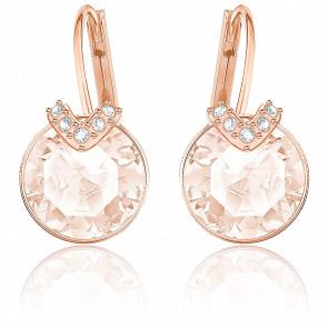 Boucles d'oreilles Bella V rose & métal doré rose
