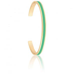 Jonc Bangle Vert Opal & Plaqué Or Jaune