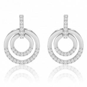 Boucles d'oreilles Circle blanc, métal rhodié & cristaux