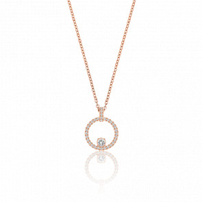 Collier Creativity Circle Blanc & Plaqué Or Rose