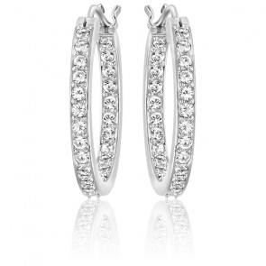 Boucles d'oreilles Sommerset blanc, métal rhodié