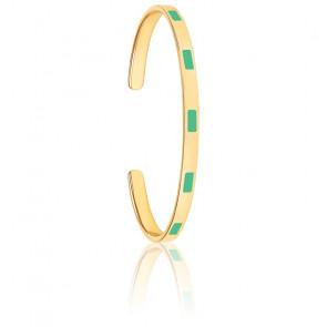 Jonc Tempo Vert Opal & Plaqué Or Jaune
