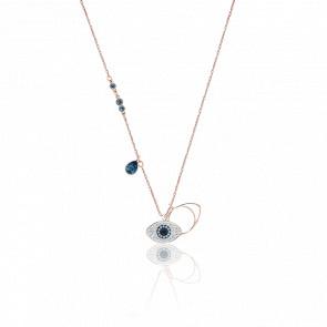 Collier Symbolic Evil Eye Bleu, Métal Rhodié & Plaqué Or Rose