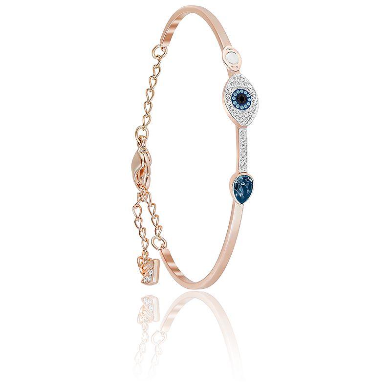 Bracelet Symbolic Evil Eye Bleu, Métal Rhodié & Plaqué Or Rose