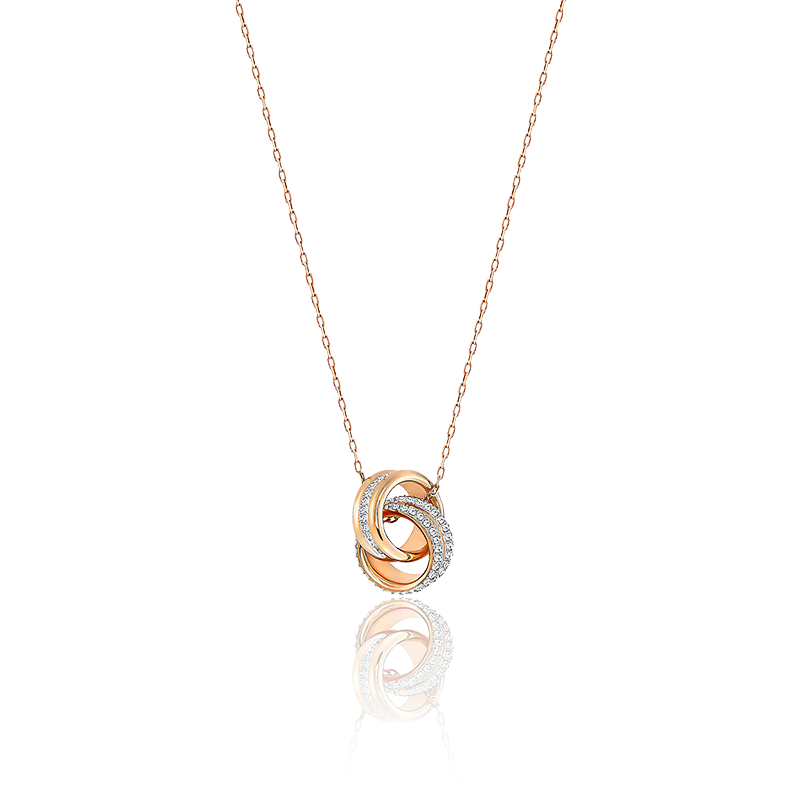 Collier Further Petit Blanc & Plaqué Or Rose