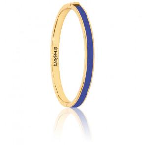 Bracelet Bangle Bleu Clématis & Plaqué Or Jaune