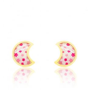 Boucles d'oreilles lune étoilée or jaune