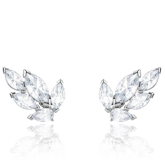 Boucles d'oreilles clous Louison blanc, métal rhodié