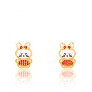 Boucles d'oreilles lapin vichy rouge & or jaune