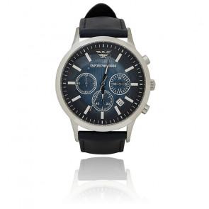 Montre Chronographe Acier Noir Bracelet Cuir AR2473
