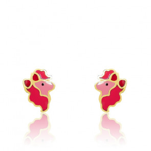 Boucles d'oreilles poney email rose & or jaune